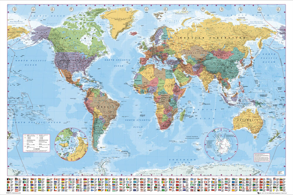 LARGE WORLD MAP Poster Wall Chart Latest Ed New Sealed eBay